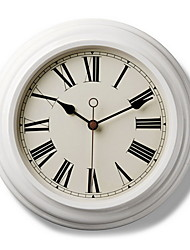 """12.8"""" Thick Off-white Metal Frame Roman Numerals Wall Clock"""