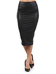 Women's Black Leather Pencil Skirt