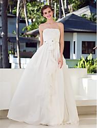 Lan Ting A-line Plus Sizes Wedding Dress - Ivory Floor-length Strapless Chiffon/Charmeuse/Stretch Satin