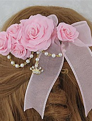 Pink Roses and Bow Sweet Princess Lolita Barrette