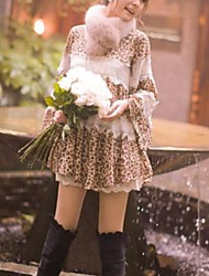 Hot New Fashion Women's Gorgeous Sweet Leopard Print Bodycon Lace Chiffon Dress One-size Coffee and Gray