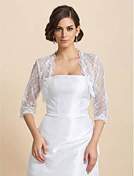 Wedding  Wraps Coats/Jackets Half-Sleeve Lace White Wedding / Party/Evening / Casual T-shirt Open Front