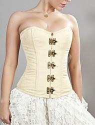 Crème Brocade en laiton de femmes Lace Lock Up Corset avec string