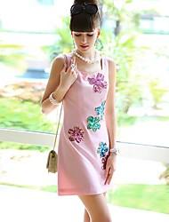 Patrón de muñeca collar redondo rosado Vestido sin mangas