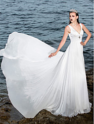 LAN TING BRIDE A-line Wedding Dress Beautiful Back Sweep / Brush Train V-neck Chiffon Satin with Appliques Beading Draped