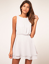 Women's Sexy Solid Chiffon Dress , Round Neck Mini Polyester Nylon Spandex