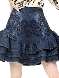 Broderie Tulip Denim Skirt