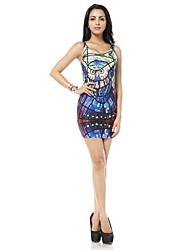Woman O Neck Blue Glass Owl Printed Mini Tank Vest Dress
