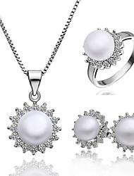 Niedlich-Damen-Halskette / Ohrring / Ring(Platin überzogen)