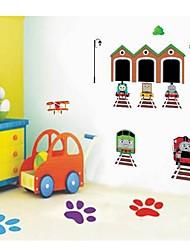 Createforlife ® Robot train de bande dessinée pour enfants autocollant de pièce de crèche mur Wall Art Stickers