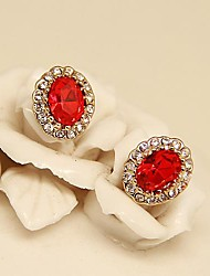 Vintage Jewelry  Gold Plated Ruby  Set with Rhinestones Stud Earrings