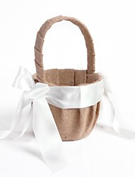 Flower Basket Linen Ribbons Bow