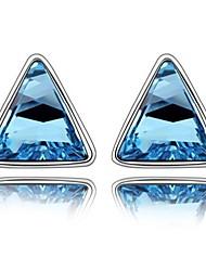 Característica Moda Triangular Element, Stud Pendientes Austria Cristal Azul