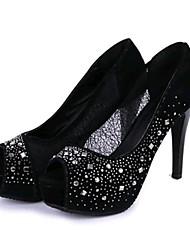 Sunfarey Женская Все Матч Peep Toe Diamonade стилет каблук Shoes