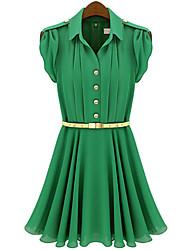 Weimeijia chiffon elegante tunica collare del risvolto Abito manica corta (Verde / Rosa)
