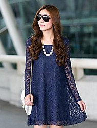 Women's Round Collar Lace A Line Dress