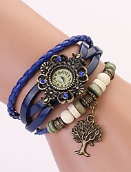 C&D Genuine Leather Vintage Watch, Tree of Life Pendant Bracelet Wristwatches XK-116