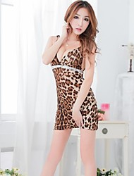 Fire sexy delle donne Knit Stripe Torna Lingerie Leopard Cosplay Stampa Backless indumenti da notte con G-string