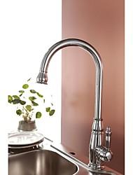 Brass rotatif monté fini chrome traditionnel Un trou mitigeur Pont robinet de cuisine