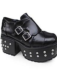 Handmade Pure Black PU 10 centímetros do salto alto Punk Lolita Shoes