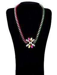 Cotingbo Multi-Color Flower Leather Short Necklace Color Random