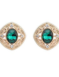 Women's European Fashion Oval Beaded Square Alloy Cutout Stud Earrings (More Colors) (1 Pair)