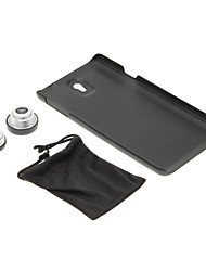 Phone Case and Fish Eye Wide Macro Silver Photo Lens in Set for Samsung N9000 Cell