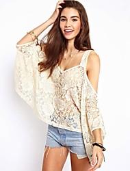 Women's Solid/Lace White/Black/Purple Blouse , Strap ¾ Sleeve Lace