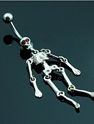 Body Jewelry/Actress Navel Ring,316L Titanium Steel Skeleton Crystal Belly Piecring Cool Hollween Skull Jewelry 1pcs Lureme®