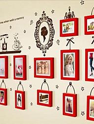 Red Photo Collection Frame Set de 13 com adesivos de parede