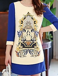Women's  Retro Round Collar 3/4 Lenght  Sleeves  A Word Print OL Dress