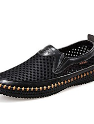 Men's Spring Summer Fall Comfort Novelty Moccasin Leather Office & Career Casual Flat Heel Black Brown Yellow