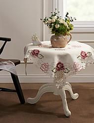 Offwhite Stickerei Ausschneiden Pink Rose Tischdecke