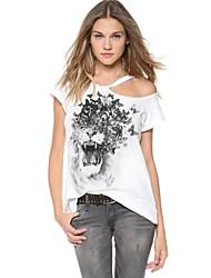 Frauen Round Kragen Tiger und Schmetterlinge, Printed trägerlosen T-Shirt