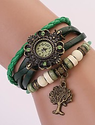 C&D Genuine Leather Vintage Watch, Tree of Life Pendant Bracelet Wristwatches XK-114