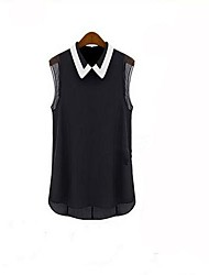 Women's Shirt Collar Chiffon Sleeveless Blouse
