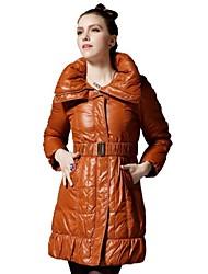 MNSJ Women's Long Down Coat Slim with Hoodies  Down Jacket