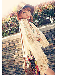 Women's Solid/Lace Beige Blouse , Round Neck Long Sleeve Hollow Out/Tassel