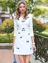 Women's Formal Dress,Solid Above Knee Long Sleeve White Polyester / Spandex Summer
