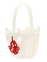 panier de fleurs en satin blanc avec des fleurs fille broderie rouge panier