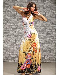 Lailie Women's Strap Floral Print  Long Beach Dress