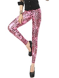 PinkQueen Women's Spandex Hot Pink Leopard Animal Print Leggings