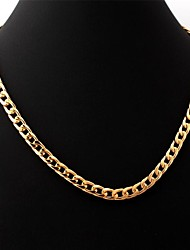 U7® 18K Real Gold Filled Chunky Choker Necklace Curb Cuban Chain Jewelry for Men 7MM 55CM