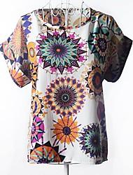 Damen Druck T-Shirt - Chiffon Kurzarm Rundhalsausschnitt