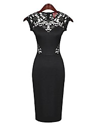 Women's Solid/Lace Black Dress , Bodycon/Casual/Lace/Party Round Neck Short Sleeve Lace