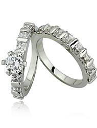 Gift Couples Ring Wedding Engagement Rings for Women Silver AAA Stone CZ Ring Set