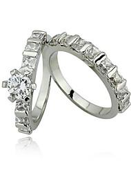 Casais dom anel de casamento anéis de noivado para as Mulheres AAA Pedra CZ Set Anel de Prata