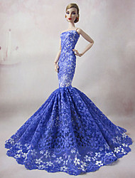 Barbie Doll Elegant Mermaid Blue Lace Evening Party Dress