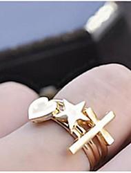 (3PC) Creative Triad Hearts Stars Cross Ring