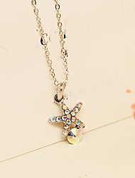 Fashion Jewelry  Short  Colorful  Gold Plated  Pentagram Crystal Set  Auge  Clavicle  Necklace for Women